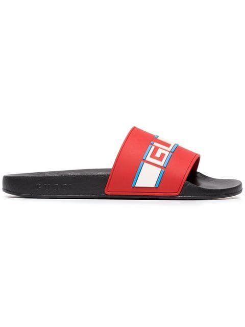 Gucci Poppy Azure Red Pursuit Sandals - Farfetch
