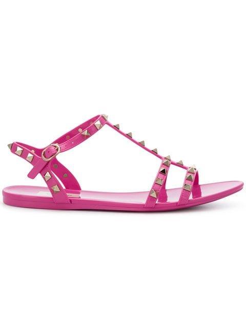 Valentino Rockstud Slide Sandals - Farfetch