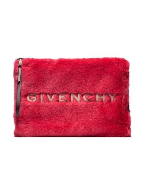 Givenchy Red And White Logo Embroidered Faux Fur Pouch - Farfetch