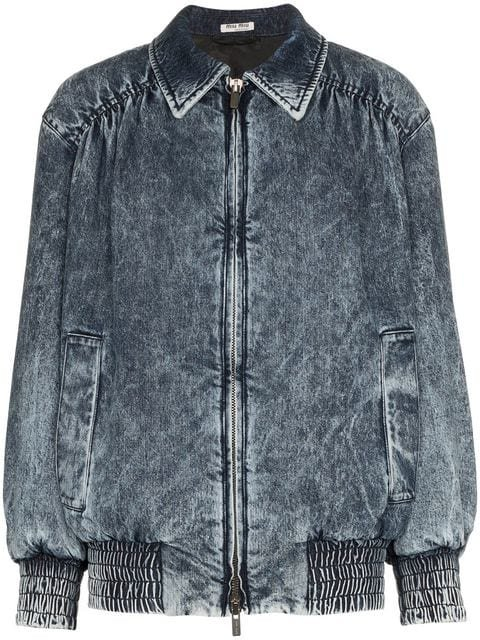 Miu Miu Fitted Denim Bomber Jacket - Farfetch