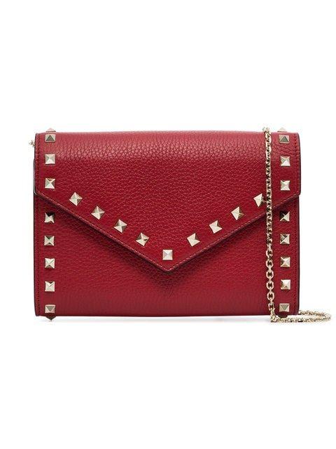 Valentino Red Rockstud Leather Clutch Bag - Farfetch