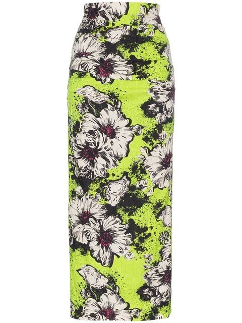 Miu Miu Floral Printed And Textured Silk-blend Midi Skirt - Farfetch