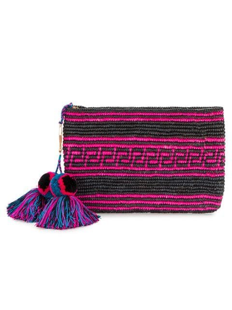 Yosuzi Woven Canvas Pouch With Pompom Tassels - Farfetch