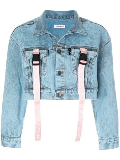 Palm Angels Buckle Strap Cropped Denim Jacket - Farfetch