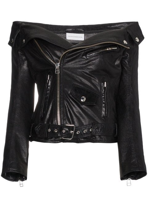Faith Connexion Off The Shoulder Leather Jacket - Farfetch