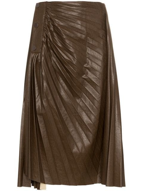 Low Classic High Waist Pleated Faux Leather Skirt - Farfetch