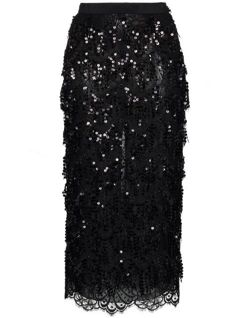 Alessandra Rich Sequin Embellished Lace Panel Silk Skirt - Farfetch