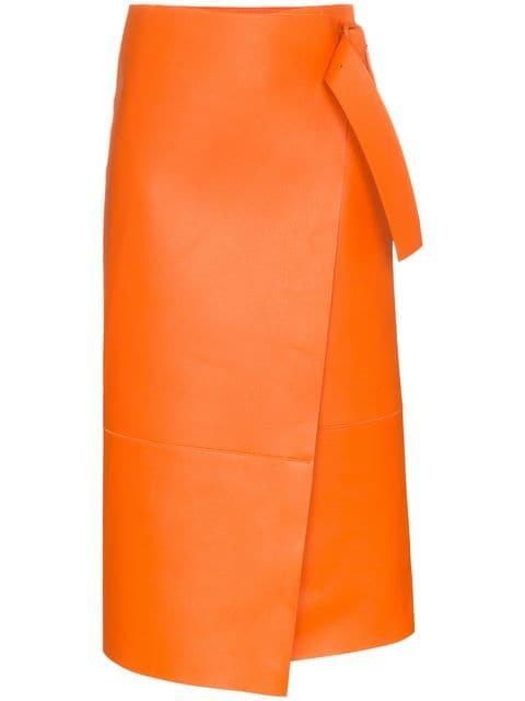 Joseph Geometric Midi Wrap Lambskin Skirt - Farfetch