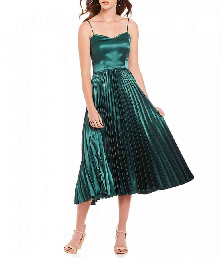 Romee Sweetheart Neck Spaghetti Strap Satin Pleated Midi Dress