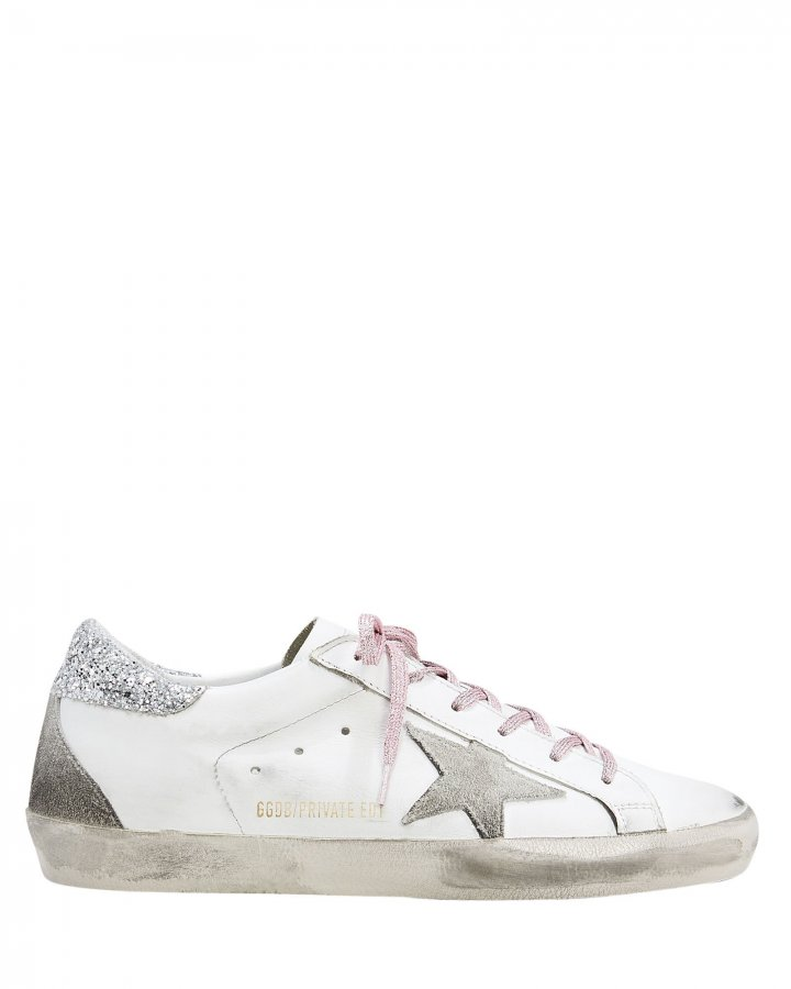 Superstar Pink Glitter Laces Low-Top Sneakers