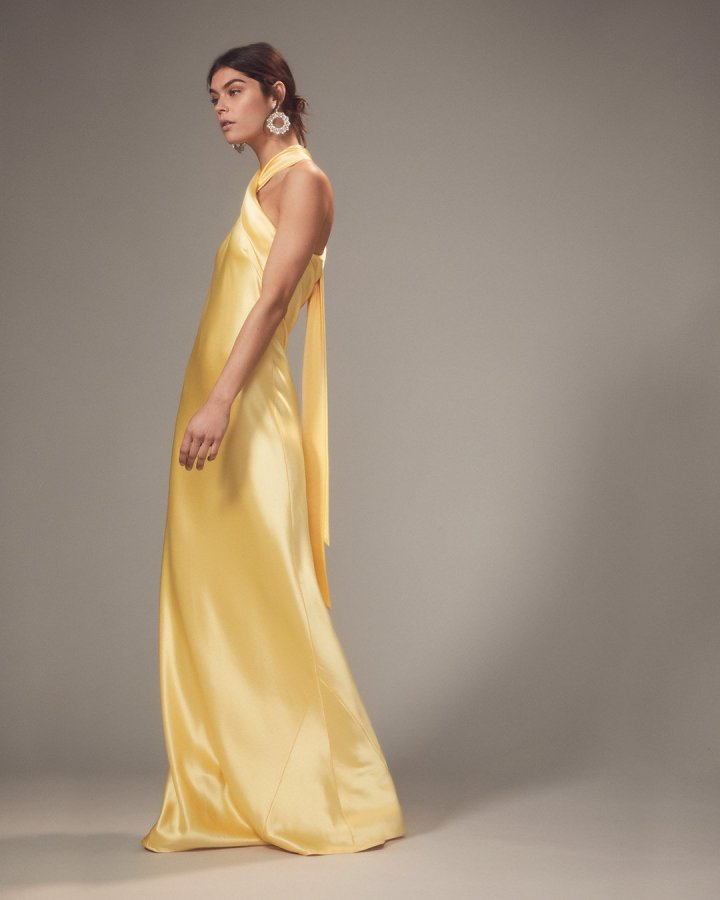 Yellow Bias-Cut Satin Gown