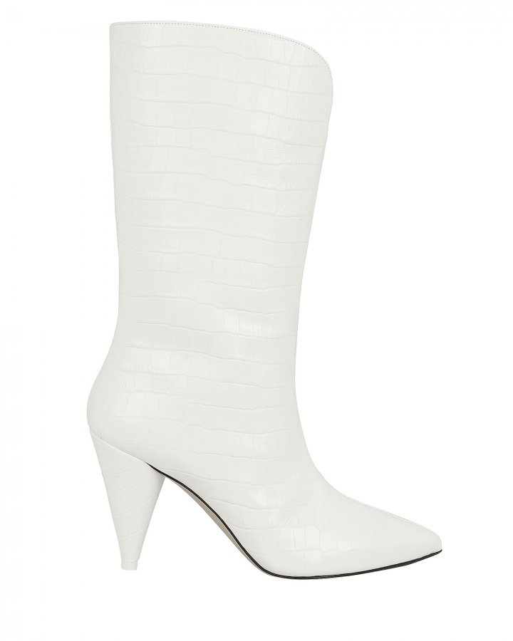 Betta Croc-Embossed White Boots