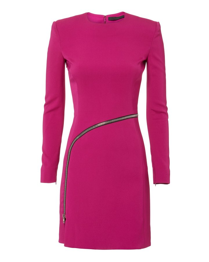 Curved Zip Detail Pink Dress