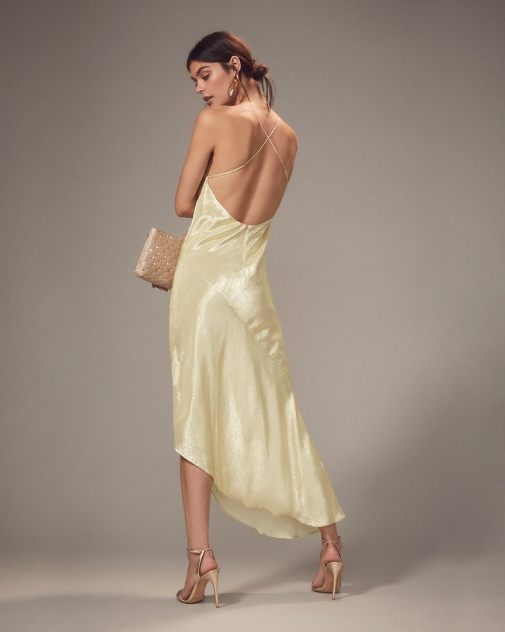 Goldie Champagne Asymmetrical Gown