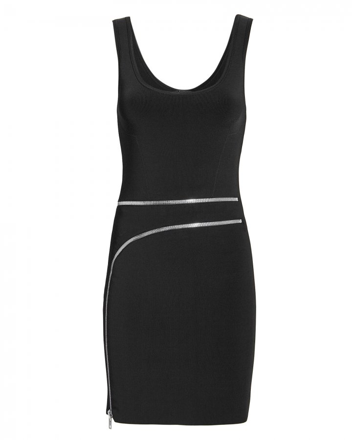 Curved Zip Detail Black Dress