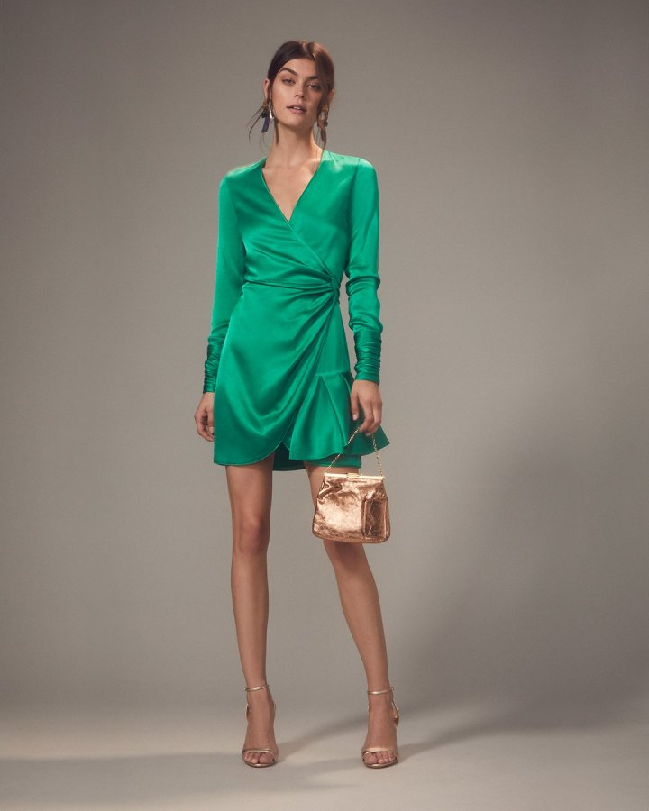 Komosa Emerald Wrap Mini Dress