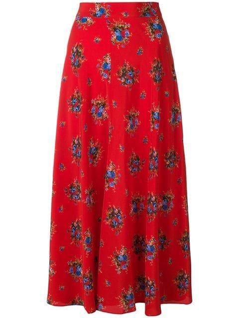 Ganni Floral Mid-calf Skirt - Farfetch