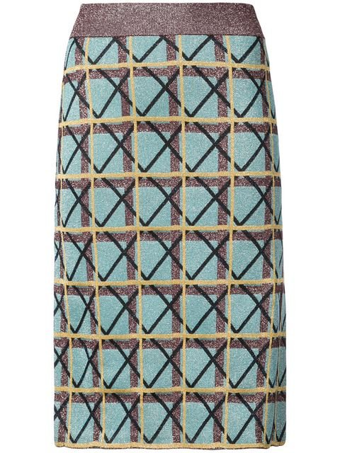 Alexa Chung Geometric Pattern Pencil Skirt - Farfetch
