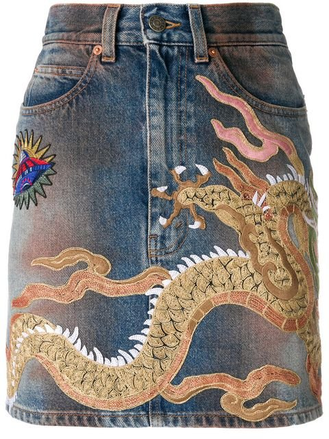 Gucci Dragon Motif Denim Skirt - Farfetch