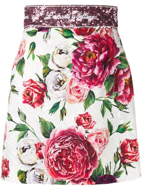 Dolce & Gabbana Rose Print Brocade Mini Skirt - Farfetch