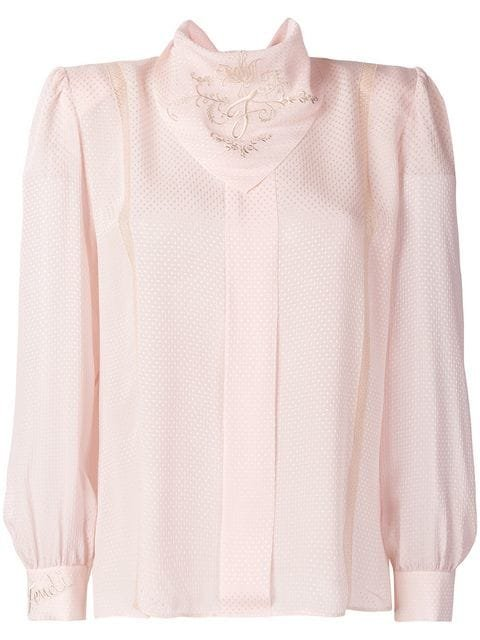 Fendi Embroidered Long-sleeve Blouse - Farfetch