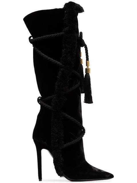 Versace Black Pillow Talk 110 Braided Velvet Knee High Boots - Farfetch