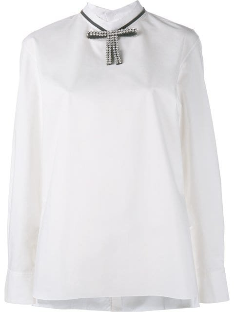 Marni Embellished Bow Collar Blouse - Farfetch