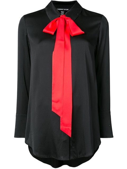 Thomas Wylde Contrast Pussy Bow Detailed Shirt - Farfetch
