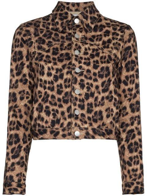 Miaou Lex Leopard Print Cropped Cotton Blend Jacket - Farfetch