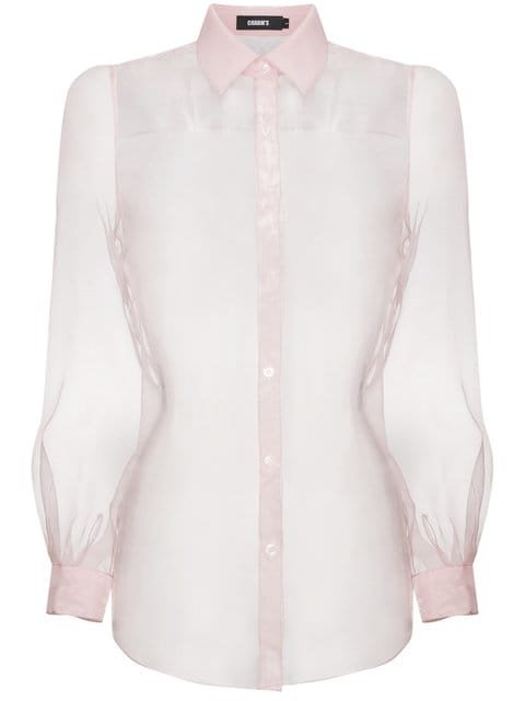 Charm\'s Pink Organza Sheer Long Sleeve Shirt - Farfetch