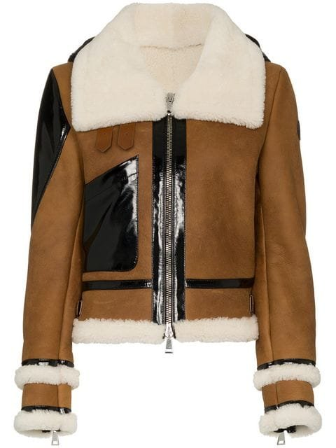 Moncler Crabier Crop Shearling Jacket With Down Hood - Farfetch