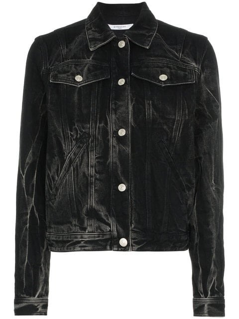 Givenchy Logo Eyelet Washed Denim Jacket - Farfetch