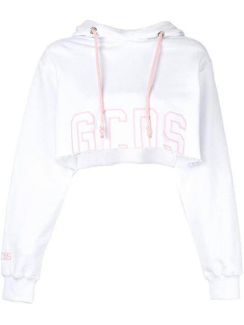 Gcds Cropped Logo Hoodie - Farfetch