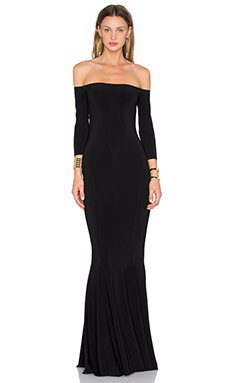 Off the Shoulder Fishtail Gown                                             Norma Kamali