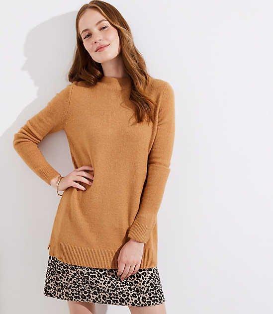 Mock Neck Tunic Sweater