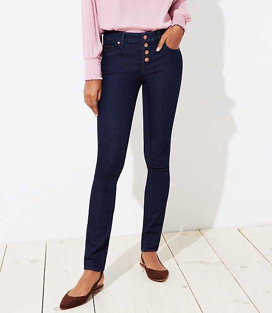 Button Fly Skinny Jeans - regular & curvy