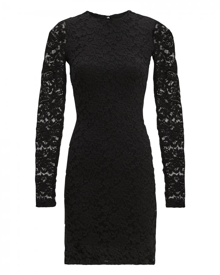 Black Sweater Lace Dress