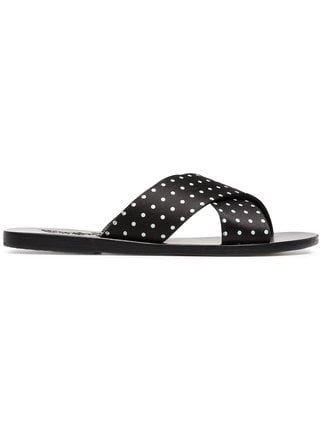 Ancient Greek Sandals Black Thais Polka Dot Satin Slides - Farfetch