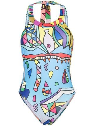 Ellie Rassia Planet Earth Print High Neck Swimsuit - Farfetch