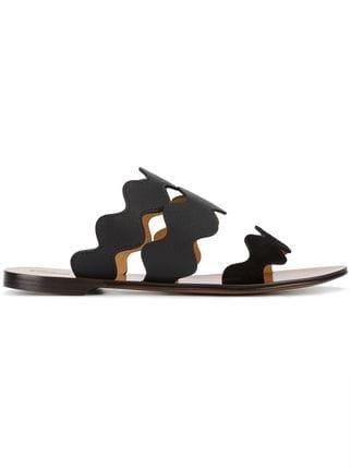 Chloé Black Lauren Leather Slides - Farfetch