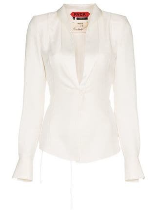 Ronald Van Der Kemp Tuxedo Effect Silk Blouse - Farfetch