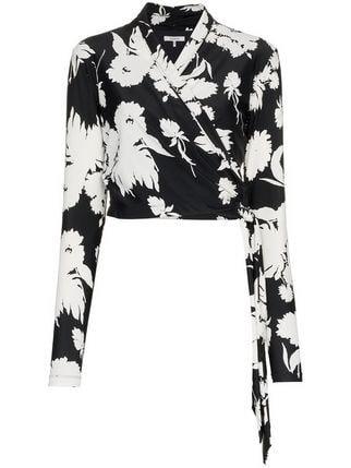 Ganni Alameda Floral Print Wrap Top - Farfetch