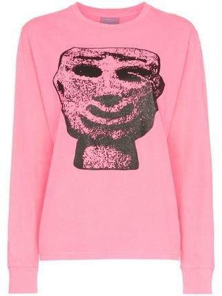 Ashley Williams Stone Head Graphic Cotton T-shirt - Farfetch