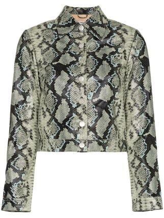 Miaou Lex Snake Print Cropped Jacket - Farfetch