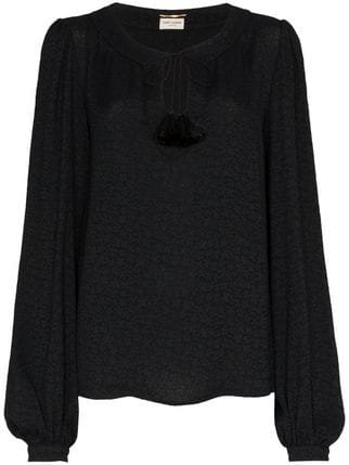 Saint Laurent Tie Neck Embossed Blouse - Farfetch
