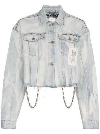 Ksubi Daggerz Distressed Graphic Cropped Cotton Blue Jacket - Farfetch