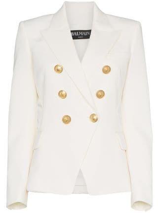 Balmain White Double Breasted Blazer - Farfetch