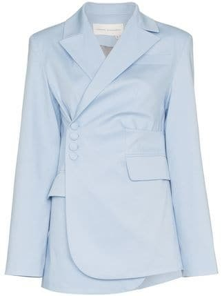 Aleksandre Akhalkatsishvili Asymmetric Side Button Cotton Blazer - Farfetch