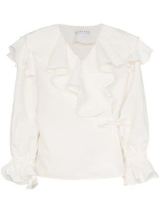 Rejina Pyo White Camila Ruffled Blouse  - Farfetch