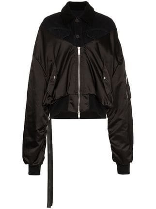Unravel Project Zip Up Cotton And Shearling Bomber Jacket  - Farfetch